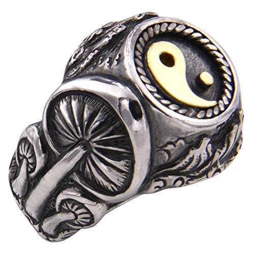Anillo de plata 'Magic Mushroom' de alta calidad de orfebrería alemana (plata de ley 925 con oro amarillo 585) hecho a mano – Anillo de Yin Yang – Anillo mágico de plata, anillo para mujer y hombre