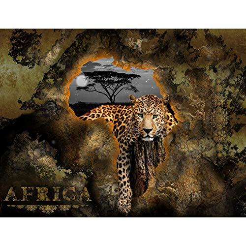 Runa Art Fototapete Afrika Leopard Modern Vlies Wohnzimmer Schlafzimmer Flur - made in Germany - Braun 9447010a
