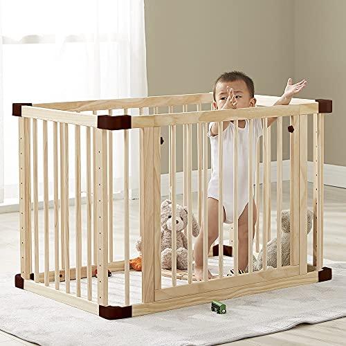 Dripex Baby Laufgitter aus Holz, 65x100cm Babybetten Laufstall Kinderbett mit Rollen, Multifunktionale Beistellbett und Weißwandtafel