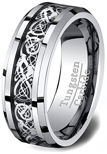 Duke Collections Mens Wedding Bands Gunmetal Tungsten Ring High Polished Celtic Dragon Design Beveled Edge 8mm Comfort Fit (10)