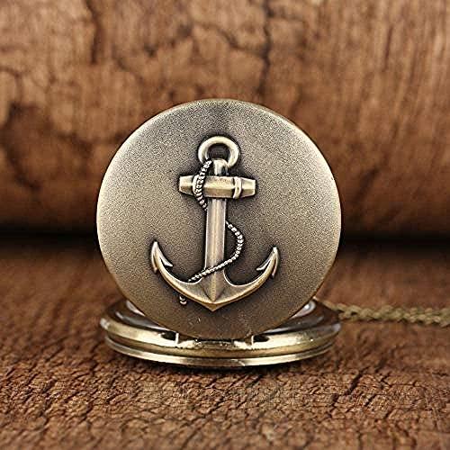 NC110 Reloj de Bolsillo de Cuarzo con temática náutica en Bronce Números Romanos Collar Reloj Exquisito Reloj Colgante YUAHJIGE