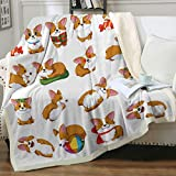 Sleepwish Corgi Blanket Throw Cute Dog Fleece Blanket Soft Lightweight and Plush Sherpa Blanket Orange Pembroke Welsh Corgi Dog Fuzzy Blankets for Kids Gifts for Corgi Lovers (50'x60')