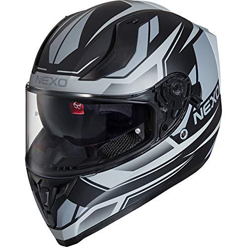 Nexo Integralhelm Motorradhelm Helm Motorrad Mopedhelm Sport II, herausnehmbare Polster, Be-, Entlüftung, Windabweiser, klares Visier, Ratschenverschluss, verschiedene Dekore, XS-XL