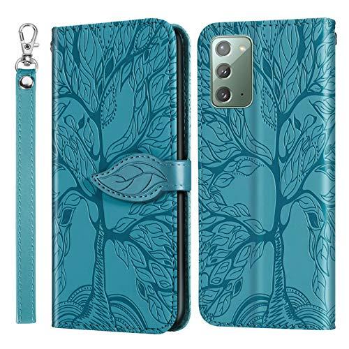 Miagon Prägung Lederhülle für Samsung Galaxy Note 20,Handyhülle Tasche Brieftasche Hülle Bookstyle Schutzhülle Flip Case Cover Klapphülle Kartenfächer,Baum Blau