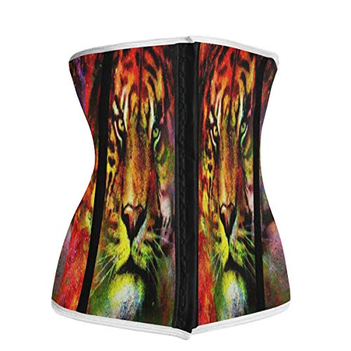 SLHFPX Waist Trainer Corset for Weight Loss Oil Painting Tiger Ladies Latex Underbust Body Shaper