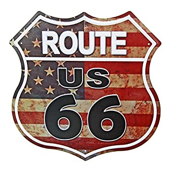 NEW DECO US Route 66 Signs Vintage Metal Road Signs for Garage Man Cave Bar Home Wall Decoration  US Flag Road Street Sign