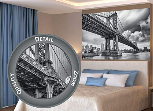 GREAT ART XXL Poster – Manhattan Bridge New York USA – Wandbild Wandbild Skyline City Städteposter Sightseeing Deko Wanddekoration Schwarz-Weiss Foto Motiv Fotoposter (140 x 100 cm)