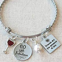 Milestone 60th Birthday Gift for Friend, 60th BIRTHDAY Gift for Her, Friends are the Sunshine of Life Bangle Bracelet, 60 and Fabulous Wine Glass Charm Bracelet