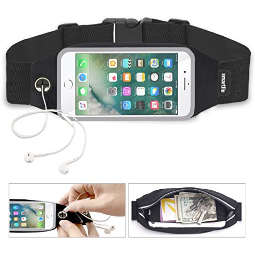 smartlle Fanny Pack, Running Belt, Waist Bag/holder for Women & Men for iPhone Xs Max, XR, XS/X, 8/7/6s Plus, 6/SE, Samsung Galaxy S10/S9/S8 +/ Note 9/8, Moto, LG,Pixel. Gym Workout Fitness Gear-Black