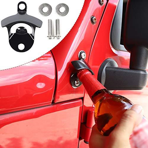 CheroCar Body Mounted Bottle Opener for Jeep Wrangler JK JKU Unlimited 2007-2018, Exterior Accessories, Black