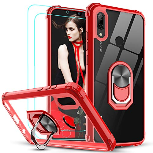 LeYi Funda Huawei P Smart 2019 / Honor 10 Lite con [2-Unidades] Cristal Vidrio Templado,Transparente Carcasa con 360 Grados iman Soporte Silicona Bumper Armor Case para Movil P Smart 2019,Clear Rojo