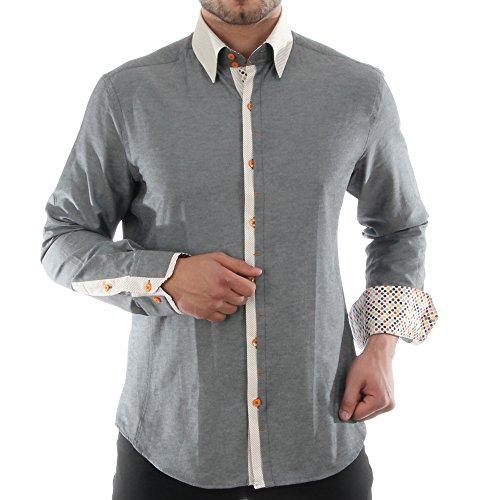 Slim Fit Casual herenhemd in grijs, voor heren beste kwaliteit, HK amandel lange mouwen vrijetijdshemd retro stijl