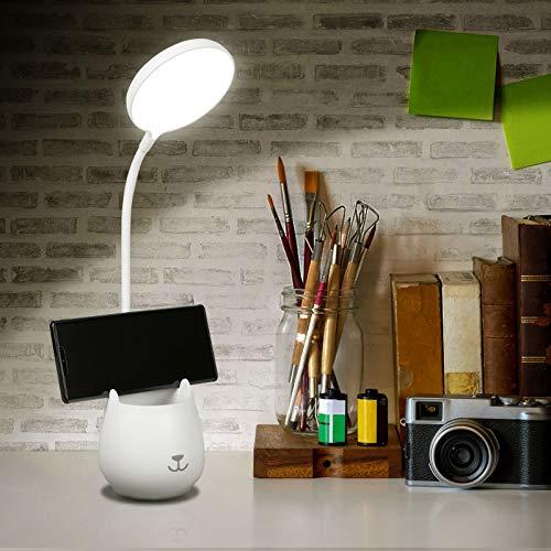 URAQT Lámpara de Escritorio LED, 3 Niveles de Brillo Lámpara de Protección Ocular, Flexo LED para Leer con Portalápices, Luz de Noche Recargable USB con Control Táctil