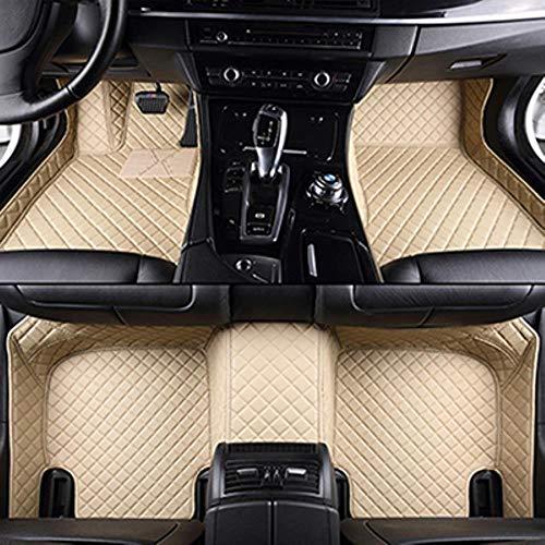 HIZH Benutzerdefinierte Logo Auto Fußmatten für BMW G30 E90 E46 F10 F11 X3 E83 F30 F45 X1 X3 F25 X5 F15 E30 E34 E60 E65 E70 Alle Modelle Auto Matten, Beige