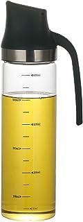 Bugucat Huilier 600 ml - Distributeur de vinaigre/huile en acier inoxydable et verre - Bouteille en verre avec buse automa...