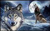 #Fußmatte #heulender Wolf #Mond #Wolfskopf #Vorleger #Teppich #Fußabtreter 40x60 cm