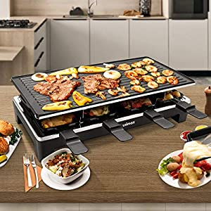 Cusimax Raclette Grill mit Reversible Grillpfanne, Steuerung Partygrill für 8 Personen,Stufenlos Regulierbare Temperatur, 8 Mini Pfännchen, Antihaftbeschichtung, CMRC-300, 1500W, Schwar