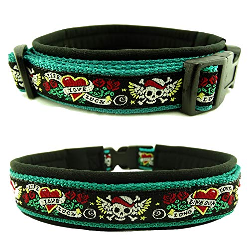 Eve Couture Hundehalsband Halsband Hund Skulls & Hearts Rockabilly Rock´n Roll verstellbar Totenkopf Skull smaragdgrün schwarz 30mm (XS (ca. 24-30cm))