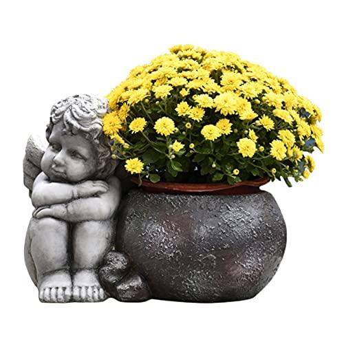 HOMHH Vaso da Fiori Vintage Angelo Vaso per Fioriera in Cemento Fioriera per Cactus Succulenti con Foro di Drenaggio, Decorazioni per La Casa per Interni Ed Esterni, Grigio