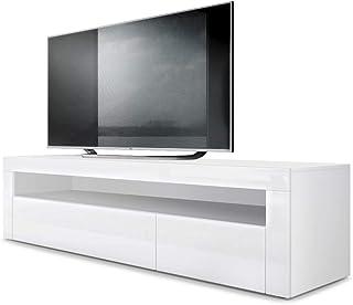 Mesa Baja para TV Valencia Cuerpo en Blanco Mate/Frente en Blanco de Alto Brillo con Marco en Blanco de Alto Brillo