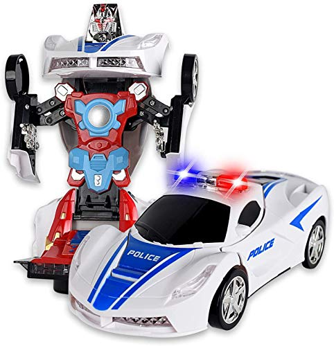 Carro Robô Policial Transformes Com Movimento Som E Luzes para crianças robo transforme