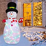 YQing 183cm Muñeco de Nieve Inflable de Navidad, Grande Muñeco de Nieve Hinchable Navidad Exterior Decoracion con LED Luces Inflatable Snowman Fiesta Jardín Decoración, Europeo Enchufe