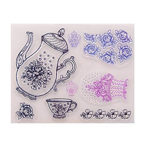 DIY uw eigen theepot maken thee tijd rubber duidelijk stempel voor kaart maken decoratie en Scrapbooking
