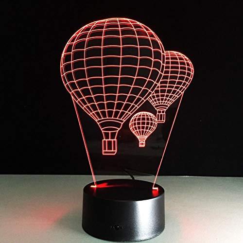 Yujzpl 3D Illusion Lamp Led Night Light, USB Powered 7 colores Intermitente Touch Switch Iluminación para niños Regalo de Navidad[Clase de energía A +++]-Vuelo en globo aerostático