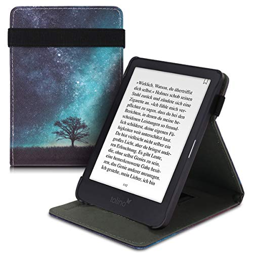 kwmobile Hülle kompatibel mit Tolino Shine 3 - Schlaufe Ständer - e-Reader Schutzhülle - Galaxie Baum Wiese Blau Grau Schwarz