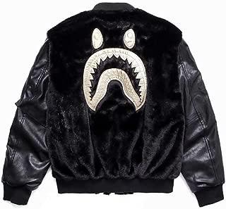 QYS Men Bathing Ape Bape Shark Jaw Leather Full Zipper Hoodie Men's Plush Jacket,XXL