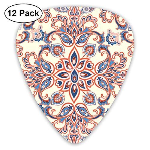 Houity Gitarren-Plektrum, abstrakt, orientalisches Blumenmuster, geometrisch, 12-teiliges Set aus umweltfreundlichem ABS-Material, geeignet für Gitarren, Quads, etc.