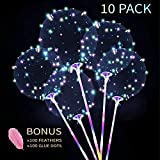 Zancybuzz 10 PCS 20 Inches Led Light Up Colorful Bobo Balloons With Stick , 3 Mode Flashing Transparent Light Balloons with Feather and Glue Dots Handle Great For Decorations, Weddings, Banquets, Outdoor and Indoor Parties, Anniversary, House Party, Family Reunion, Birthday and Event Centerpieces