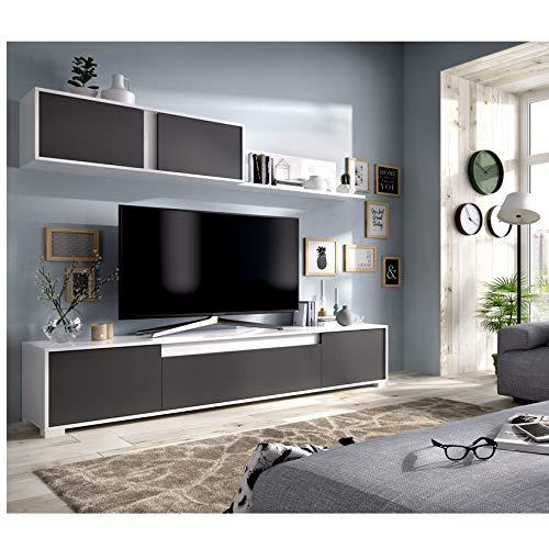 HABITMOBEL Mueble de salón Moderno Milano, Acabado en Color Blanco Brillo y Grafito Medidas: 180x200x41 cm de Fondo