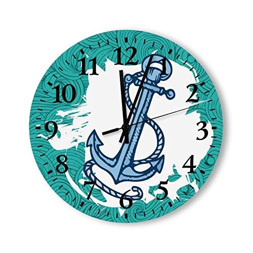 Relojes de pared de madera con pilas, 12 pulgadas, un reloj de pared de ancla de barco, decoración moderna para cocina, baño, sala de estar, dormitorio, decoración decorativa no hace garrapatas