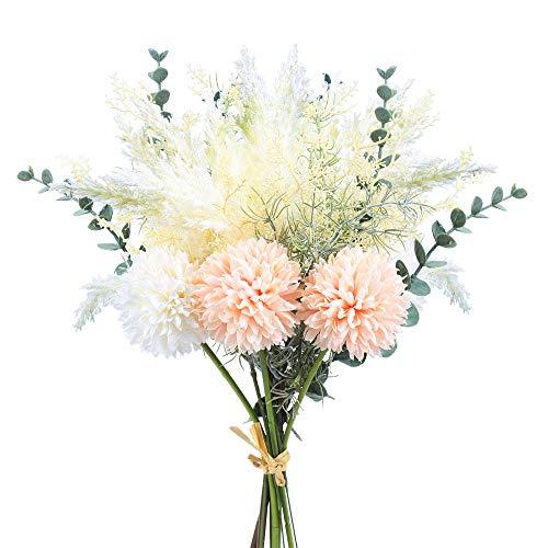 NAHUAA Künstliche Blumen Deko Blumenstrauß mit Kunstblumen Pfingstrose Hortensien Seidenblumen Strauß Plastikblumen für Hochzeit Braut Mittelstücke Blumenarrangements Dekoration (Champagner)