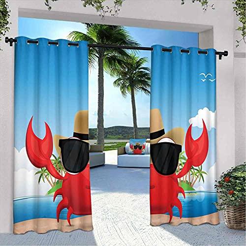 Crabs - Cortinas para patio al aire libre, crustáceo fresco con gafas de sol negras y un sombrero de vacaciones de verano en la isla tropical, apto para pabellones de terraza al aire libre, multicolor