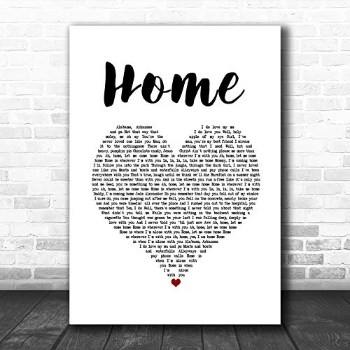 Edward Sharpe The Magnetic Zeros Home White Heart Song Lyric Print Print Wall Decor Art Gifts Lovers Poster