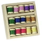 Melody Jane Miniatura para Casa de Muñecas Mercería Costura Habitación Accesorio Caja de Algodón Carretes