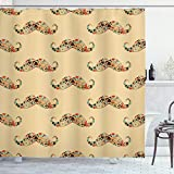 Ambesonne Vintage Shower Curtain, Oriental Style Hipster Mustache with Pastel Colored Vintage Owl Bicycle Shapes and Pipe, Cloth Fabric Bathroom Decor Set with Hooks, 70' Long, Ecru