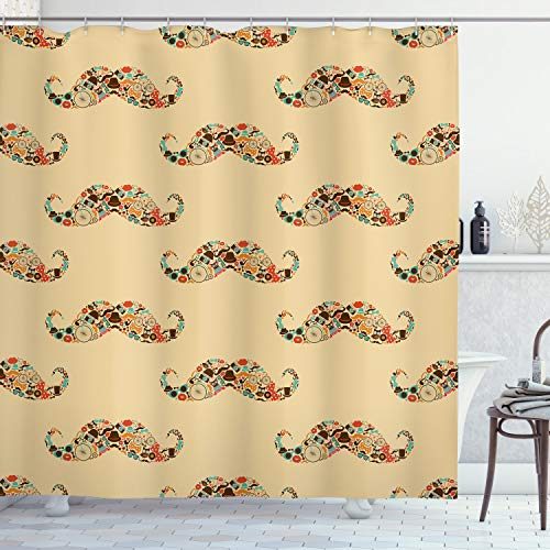 Ambesonne Vintage Shower Curtain, Oriental Style Hipster Mustache Pastel Colored Retro Owl Bicycle Shapes, Cloth Fabric Bathroom Decor Set with Hooks, 70' Long, Ecru