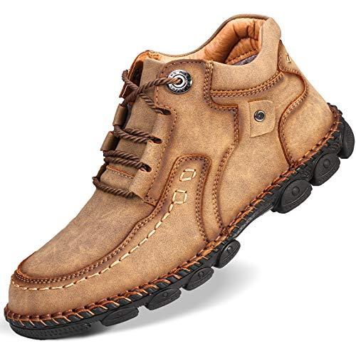 Camfosy Herren Mokassins, rutschfest Freizeit Schuhe Leicht Bootsschuhe Flach Casual Loafers Outdoor Trekking-Schnürschuhe Klassische Arbeitschuhe Winterschuhe Schwarz Braun