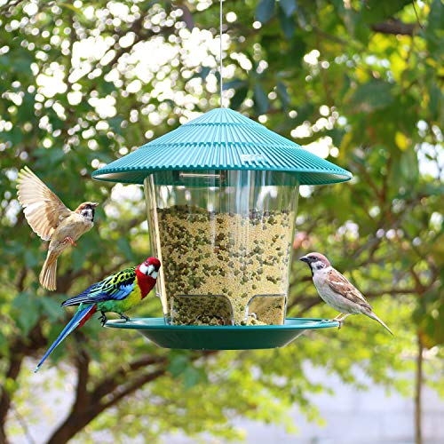 Hanizi Panorama Bird Feeder Plastic Bird Food Feeder with Roof Container Waterproof Hanging for Garden Decoration 26 lbs Green