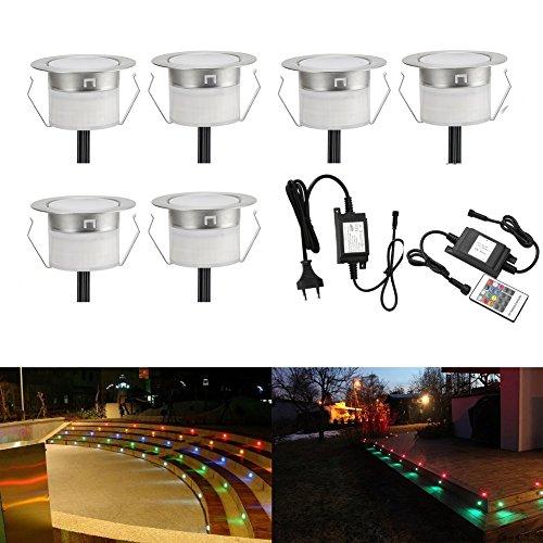 Set di 10 faretti da incasso a LED, 12V CC, diametro 30mm, 0,6W, impermeabilità IP67, per terrazza, cucina, giardino, esterni
