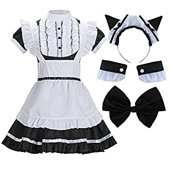 Sheface Women s French Maid Lolita Dress with Cat Ear Costume  X-Large Black