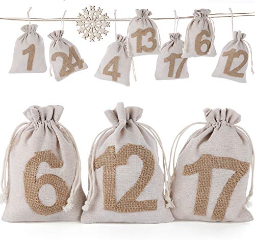 Sweelov 24 STK Baumwolle Kleine Beutel mit Kordelzug Adventskalender zum Befüllen DIY Geschenksäckchen mit 24 Sackleinen Adventszahlen für Party Weihnachten, 13x18cm