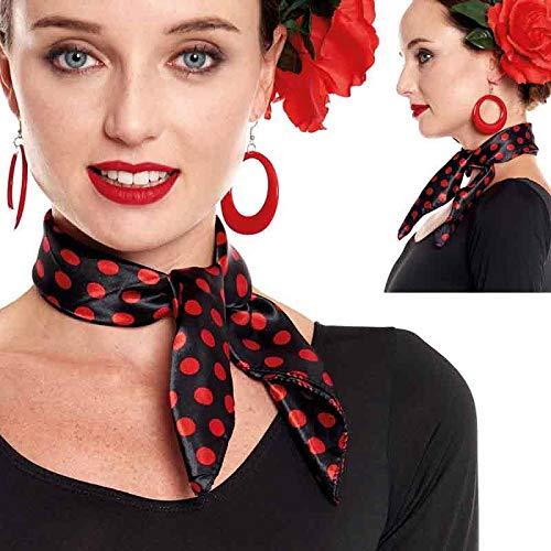 Pañuelo Lunares Flamenco Sevillanas【Pack 6 Unidades】 Negro Lunares Rojos | Accesorio Feria Abril Carnaval Disfraces