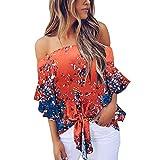 Wtouhe -Camisa de hombro frío de las mujeres Corbata floral Camisa de gasa delantera Tops de manga de trompeta Estampado de moda de trompeta con nudos- para Mujer