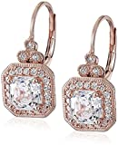 Amazon Collection Rose Gold Plated Sterling Silver Antique Drop Earrings set with Asscher Cut Swarovski Zirconia