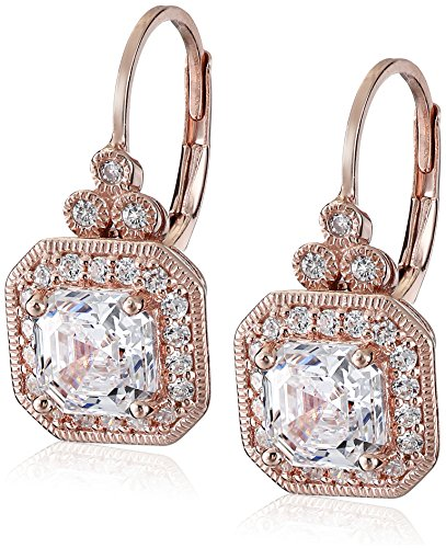 Rose Gold Plated Sterling Silver Antique Drop Earrings set with Asscher Cut Swarovski Zirconia