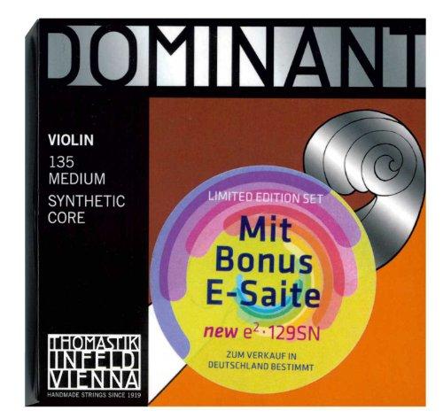 Thomastik Dominant 135 MEDIUM - 4/4 Violin Saitensatz ! 5-teilig ! Limited Edition Set mit Extra e-Saite der neuen Generation e² 129SN aus Carbon-Stahl mit Abnehmbarer Kugel